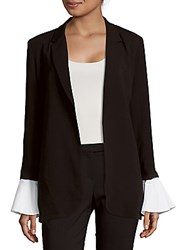 Saks Fifth Avenue Red Open Front Poet Sleeve Jacket Black