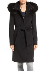 Ivanka Trump Women's Wool Blend Coat With Removable Faux Fur Trim Hood