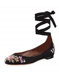Tabitha Simmons Daria Embroidered Linen Ankle Wrap Flat Black Pattern
