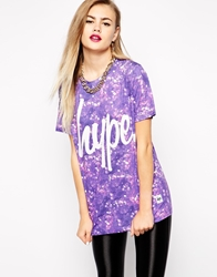 Hype Oversized Boyfriend T Shirt With Glitter Print And Front Logo Purple