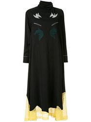 Toga Embroidered Lace Trim Dress Black