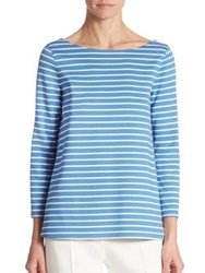 Akris Punto Stripe Jersey A Line Top Azur Cream