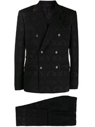 Dolce And Gabbana Damask Three Piece Suit Black