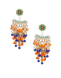 Catherine Stein Beaded Ear Jacket Drop Earrings Multi