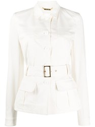 Alberta Ferretti Belted Single Breasted Jacket White