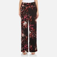 Gestuz Women's Demi Wide Leg Printed Pants Black Pink Flower Print