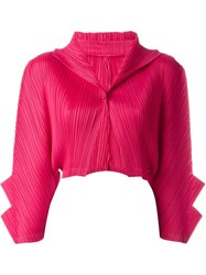 Pleats Please By Issey Miyake Pleated Texture Bolero Jacket Pink And Purple