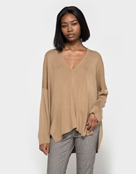 6397 Deep V Sweater Camel