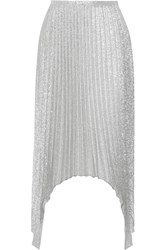 Emilio Pucci Pleated Metallic Silk Blend Midi Skirt Silver