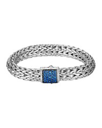 Classic Chain 11Mm Large Braided Silver Bracelet Blue Sapphire John Hardy