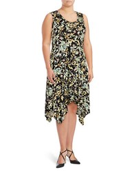 Jessica Simpson Plus Sleeveless Floral Print Sharkbite Jersey Knit Dress Black Forest