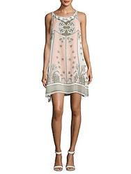 Max Studio Floral Trapeze Dress Ivory