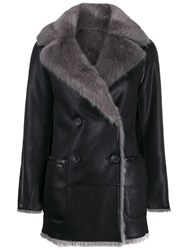 Urbancode Nosson Reversible Faux Shearling Peacoat Black