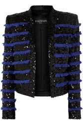 Balmain Cropped Fringed Sequined Tweed Jacket Black