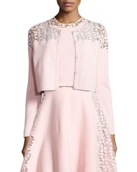 Giambattista Valli Lace Trim Cropped Cardigan Pink