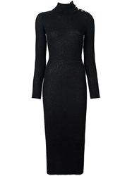Balmain Turtleneck Maxi Dress Black