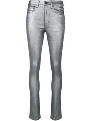 Saint Laurent Metallic Skinny Jeans Silver