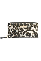 Diane Von Furstenberg Leopard Print Textured Leather Wallet White