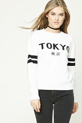 Forever 21 Striped Tokyo Graphic Sweater Cream Black
