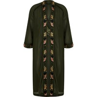 River Island Womens Khaki Green Oriental Embroidered Bird Kimono