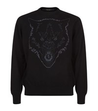 Billionaire Embroidered Wolf Sweater Male Black