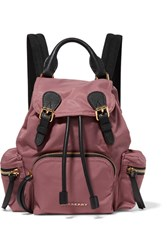 Burberry Prorsum Small Textured Leather Trimmed Gabardine Backpack Antique Rose