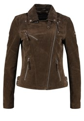 Freaky Nation Angelica Leather Jacket Olive Brown