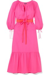 Mds Stripes Garden Belted Cotton Poplin Dress Bright Pink Gbp