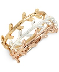 Touch Of Silver Tri Tone Trio Set Vine Inspired Stack Rings In Gold Silver And Rose Gold Plated Metal