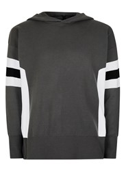 Topman Grey Charcoal Sport Stripe Drop Shoulder Knitted Hoodie