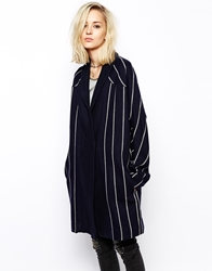 Religion Striped Wool Cocoon Coat