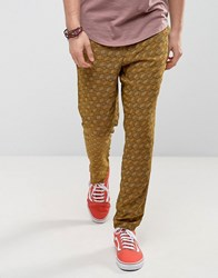 Asos Festival Straight Cropped Lightweight Trousers With Pattern Honey Mustard Yellow