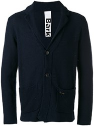 Bark Patch Pockets Knitted Blazer Blue