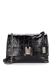 Badgley Mischka Mila Embossed Leather Crossbody Bag Black