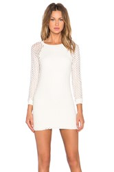Monrow Crochet Long Sleeve Dress Beige