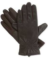 Isotoner Signature Isotoner Gathered Stretch Leather Tech Touch Gloves Brown
