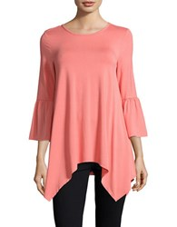 Imnyc Isaac Mizrahi Fitted Bell Sleeve Tunic Coral