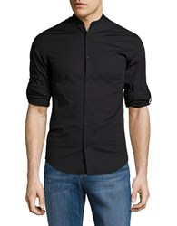 Highline Collective Band Collar Shirt With Roll Tab Sleeves Black