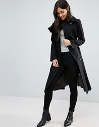 Cooper And Stollbrand Stallbrand Ruffle Front Trench Coat Black