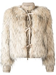 Patrizia Pepe Faux Fur Puffer Jacket Nude And Neutrals