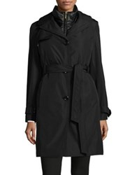 Ellen Tracy Two Piece Trench Coat And Quilted Vest Black