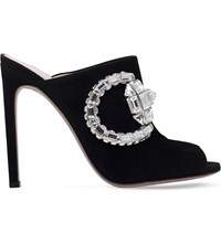 Gucci Maxime Suede Heeled Mule Sandals Black