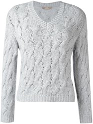 Cruciani Cable Knit Jumper Grey