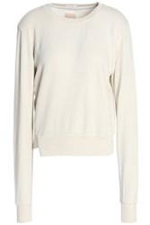 Mother Asymmetric Cotton Jersey Sweatshirt Off White Off White