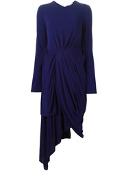 Vionnet Draped Long Sleeve Dress Pink And Purple