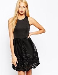 Lipsy Full Prom Skater Dress With Lace Embroidered Skirt Black