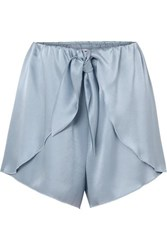 Nanushka Naila Knotted Silk Charmeuse Shorts Sky Blue