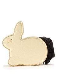 Hillier Bartley Bunny Leather Clutch Gold