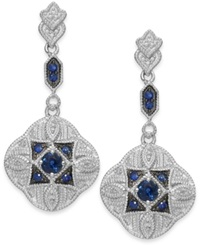 Macy's Sapphire 5 8 Ct. T.W. And Diamond 1 10 Ct. T.W. Clover Drop Earrings In Sterling Silver Blue