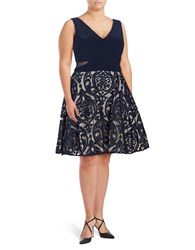 Xscape Evenings Plus Patterned Fit And Flare Dress Navy Stone